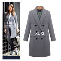 XUXI Women Autumn Winter Coat Casual Wool Solid Jackets Blazers Female Elegant Double Breasted Long Coat Ladies Size 5XL FZ244