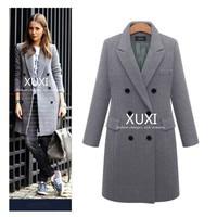 XUXI Women Autumn Winter Coat Casual Wool Solid Jackets Blazers Female Elegant Double Breasted Long Coat Ladies Size 5XL FZ244