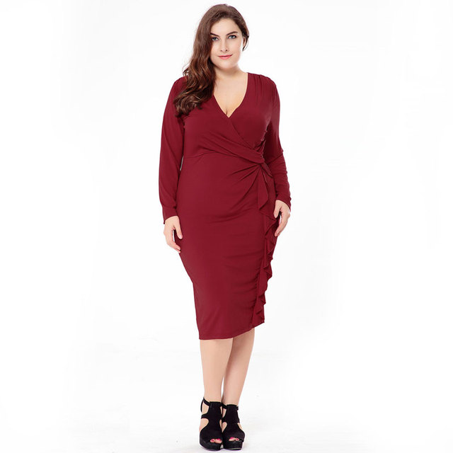 Woman Autumn Solid Plus Size Short Dress 2017 Elegant New Fat Mm A