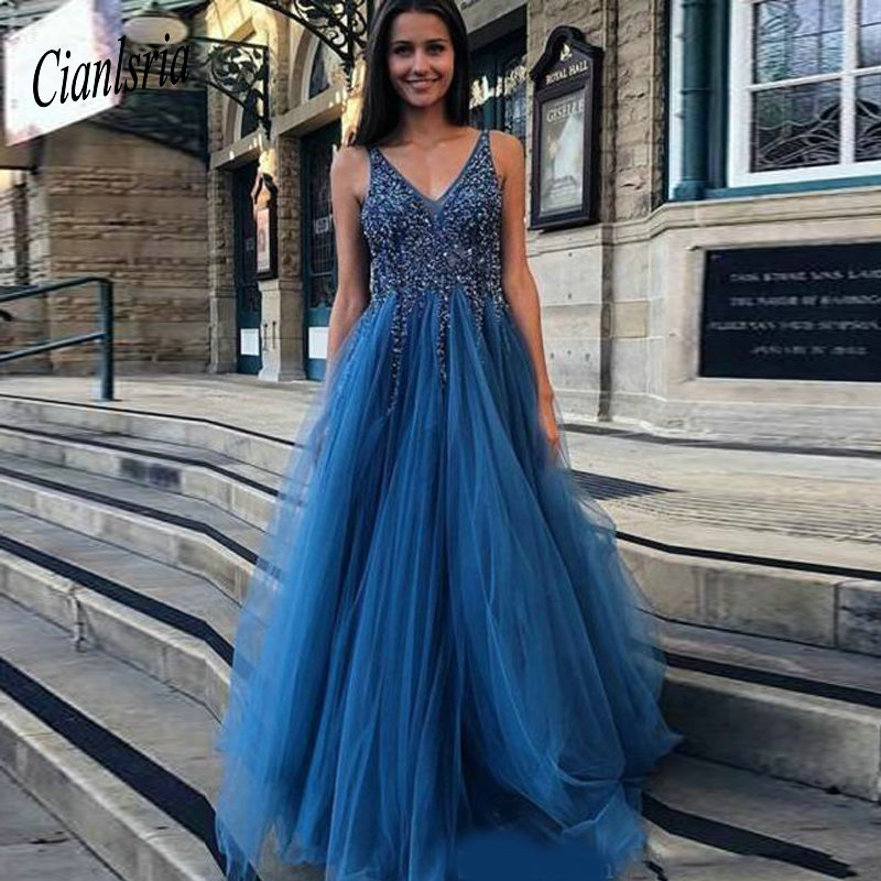 Ocean Blue Deep V Neck Crystals Beaded Long   Prom     Dresses   2019 Sexy Backless A Line Tulle Floor Length Evening Party Gowns