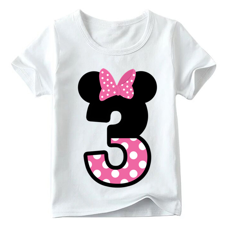 Baby Boys/Girls Happy Birthday Letter Bow Cute Print Clothes Children Funny T shirt,Kids Number 1-9 Birthday Present,HKP2416 9