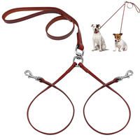 2 Way Real Leather Coupler Dog Walking Leash Dual No Tangle Lead For 2 Dogs Brown