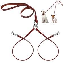 2 Способ Натуральная Кожа Муфты Выгула Собак Поводок Двойной Нет клубок Провод Для 2 Собаки Хорошо Для Малых и Средних Пород коричневый