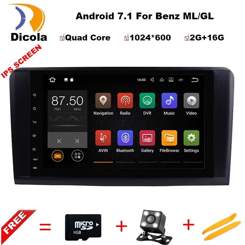 Dicola 2 Din 9 дюймов ips Android 7.1.1 dvd-плеер автомобиля для Mercedes Benz/ML/GL CLASS w164 ML350 ML500 GL320 Canbus Wi-Fi gps радио
