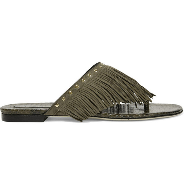 c3e45fb6bec64e Women Slippers Outside Summer Flats Army Green Fringe Suede Slides Portable  Patent Leather Flip-flops