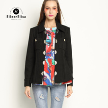 Black Women Jacket Coat 2017 Luxury Brand Runway Jacket Women Coats