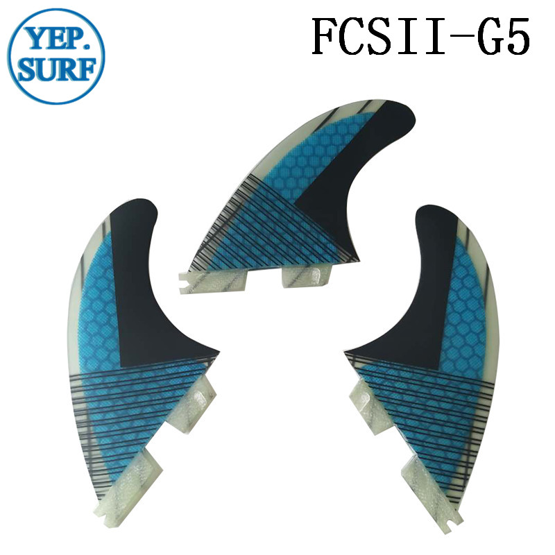 Surf FCS II G5 Fins, Fcsii Blue Fibreglass Honeycomb Carbon Fiber Fin FCS 2 SUP Board Good Quality FCS2 Fins