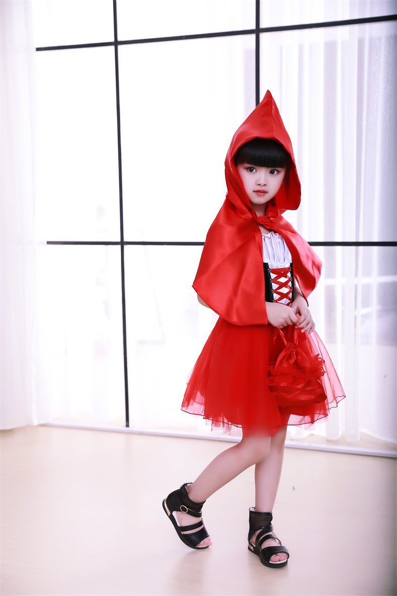 Halloween costume For girl,Cute Little Red Riding Hood for Kids Party Fancy Dress Cinderella Princess Party Performances Dress