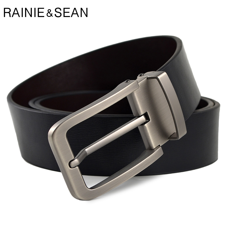 RAINIE SEAN Mens Pin Buckle Belt Genuine Leather Belt Luxury Brand Black Fashion High Quality Cow Leather Jeans Belt For Men