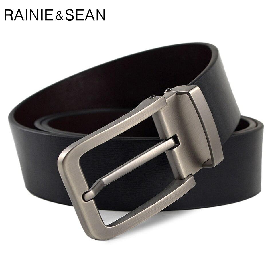 RAINIE SEAN Mens Pin Buckle Belt Genuine Leather Belt Luxury Brand Black Fashion High Quality Cow Leather Jeans Belt For Men