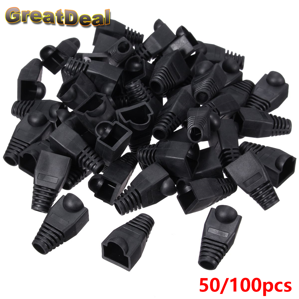 50/100pcs Cat5 Cat5e RJ45 Boots Cap Plug Head For RJ45 Cable Connector Network Modular Plugs Caps Black holesale HY202 large 24x24 cm simulation white cat with yellow head cat model lifelike big head squatting cat model decoration t187