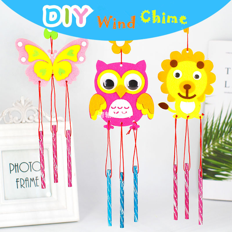 2PCS/set Children DIY Wind Chime Handmad Wind Bell Kid DIY Puzzle Toy Kids Manual Craft Toys Cartoon Non-woven Fabric Wind Chime