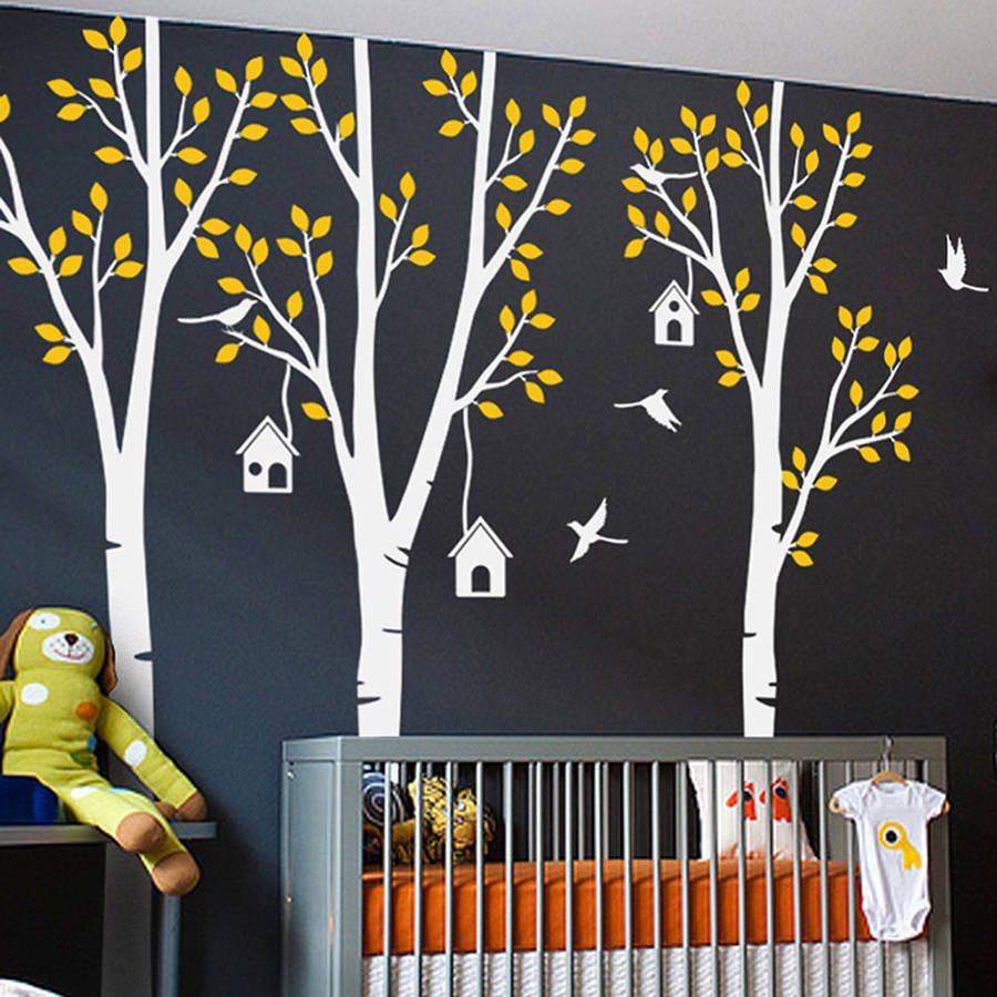 Perfect Quality 92.5 Wall Stickers Tree Three Trees With Birds And Birdhouse Sticker Baby Nursery Vinyl Wall Art Decals ZA197