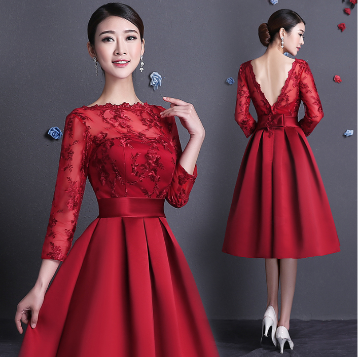 womens crimson satin illusion neckline bridesmaid bride maid dresses ...