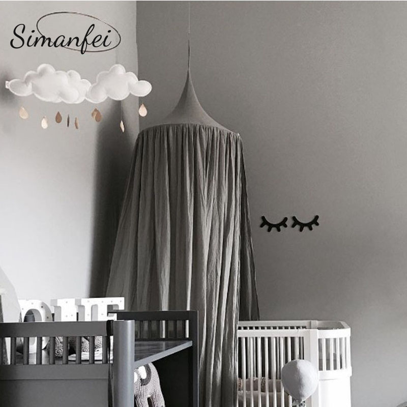 Simanfei Round Baby Bed Mosquito Net Dome Hanging Cotton Bed Canopy Princess Nice Curtain For Hammock Baby Kid Room Decor Dossel