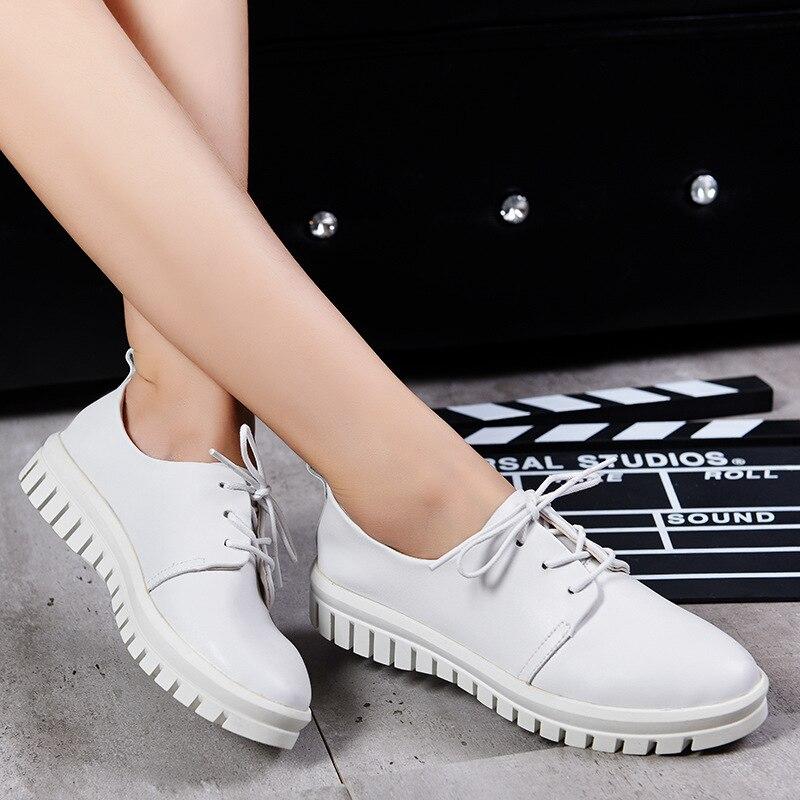 Women Oxfords Flats font b Shoes b font Leather Lace Up Platform font b Shoes b
