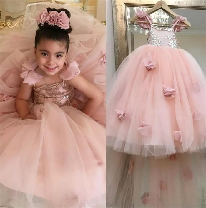 386d43b2d00 Blush Pink Flower Girls Dresses Appliques Spaghetti Straps Ball Gown  Ruffles Tulle Pageant Dresses for Girls Long Girl Dresses