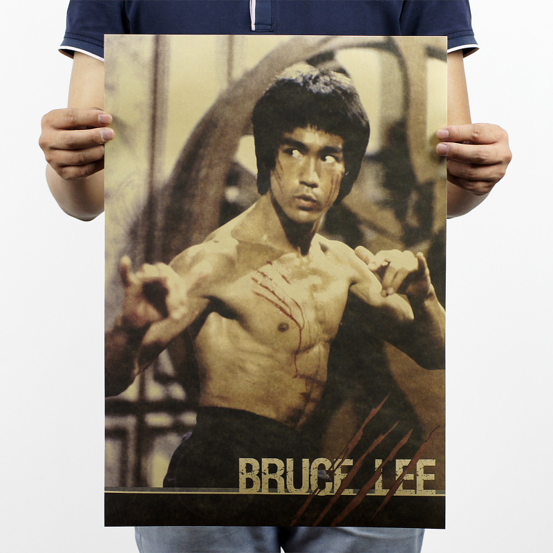 51x36cm Bruce Lee Classic Movie Posters Kraft Paper Bar Wall Stickers Home Decorative Painting Wall Stickers For Kids Rooms