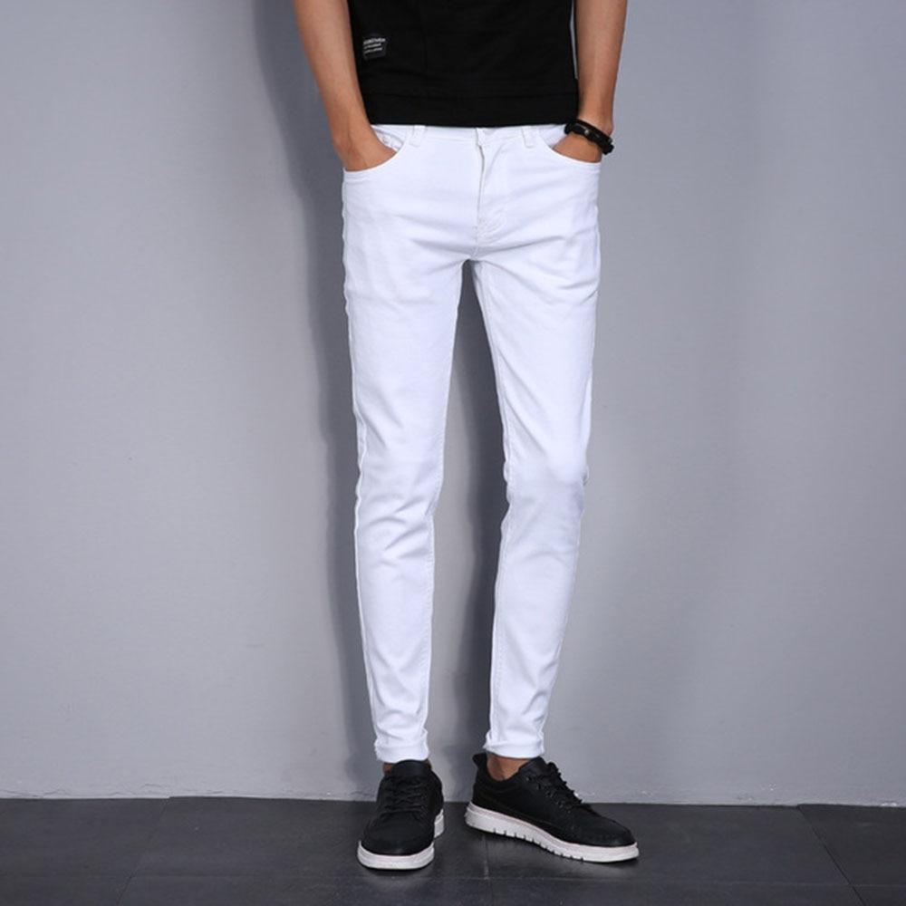 AudWhale Summer Skinny Jeans For Men Casual Full Length Solid White Classic Men's Denim Pants