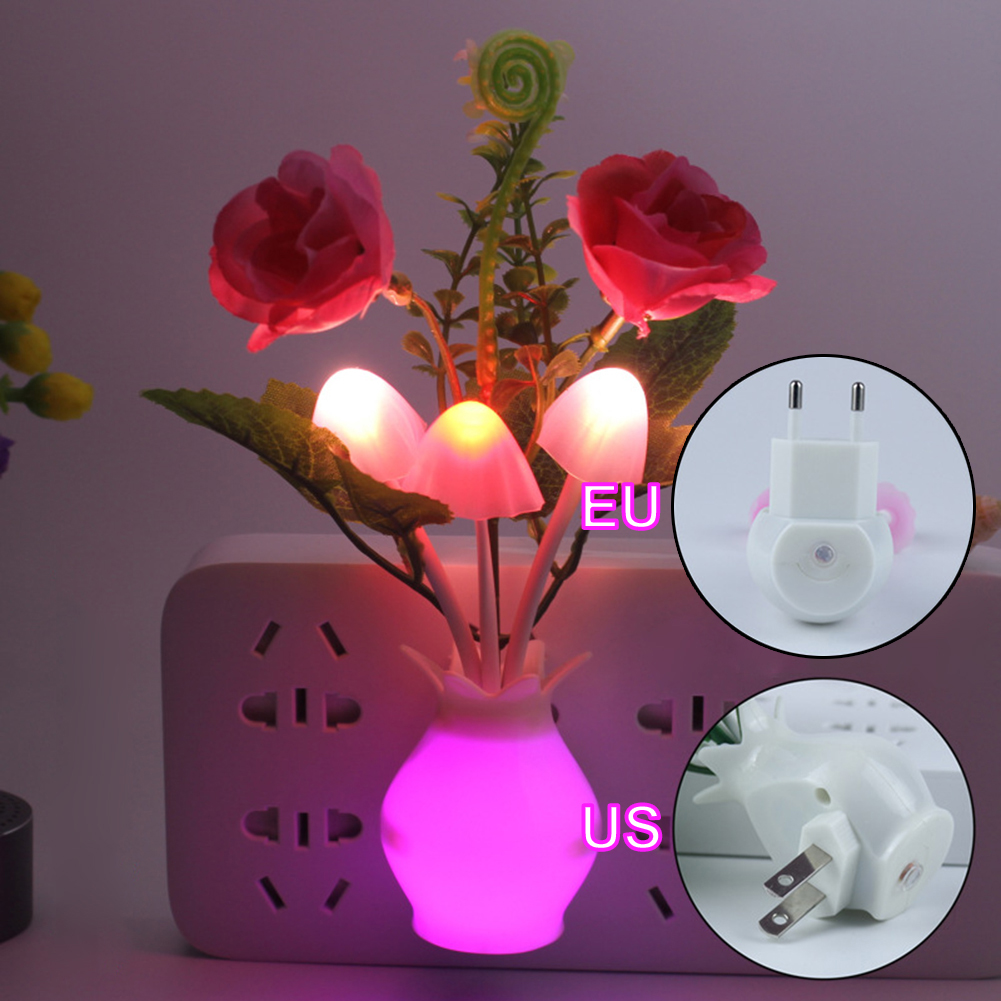 LED Colorful Flower Night Lights Light Sensor  Luminous Lamp EU Plug Sensor Light For Home Bedroom Wall Decoration