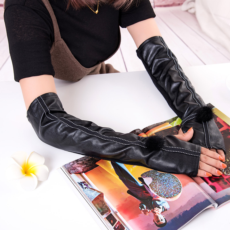 2019 Rushed Plus Cashmere Leather Sheepskin Arm Sets Of Women Long Paragraph Warm Gloves Autumn And Coral Velvet Skin Wholesale