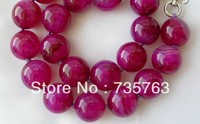 stunning big 18mm round red crude gem stone beads necklace