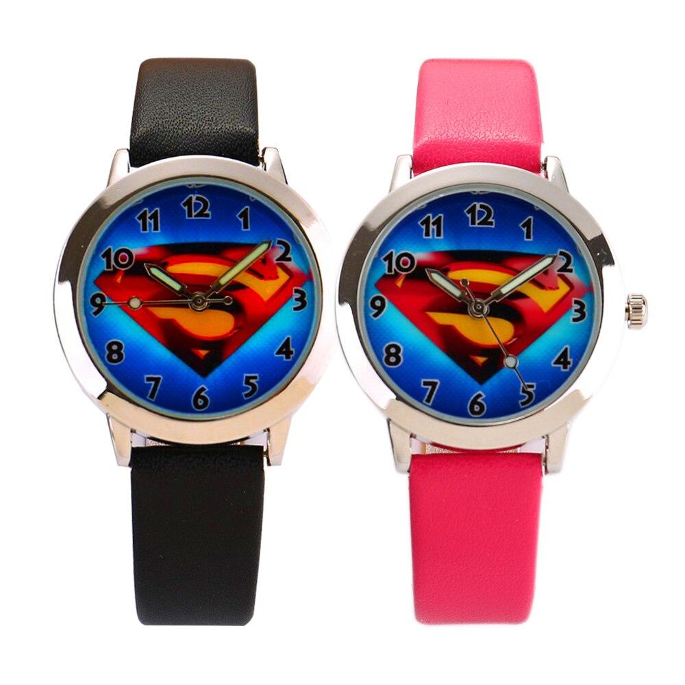 2017 Hot Sale Fashion  Superman Cartoon Watch Kids Watches Children Boy Cool Leather Strap Quartz Watch Clock Baby Hour Gift