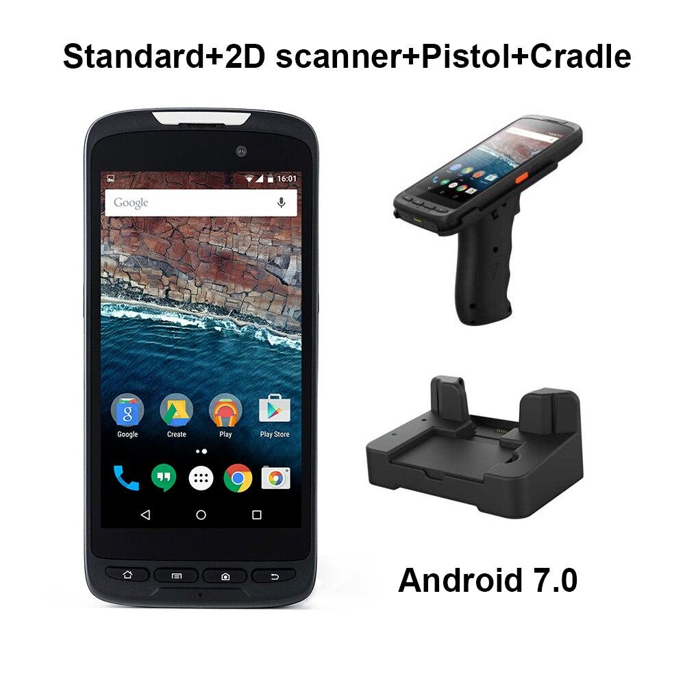4g PDA Palmare Android 7.0 NFC Touch Screen 2D Scanner di Codici A Barre Senza Fili con Wifi Bluetooth GPS Pistola Culla di Codici A Barre lettore di
