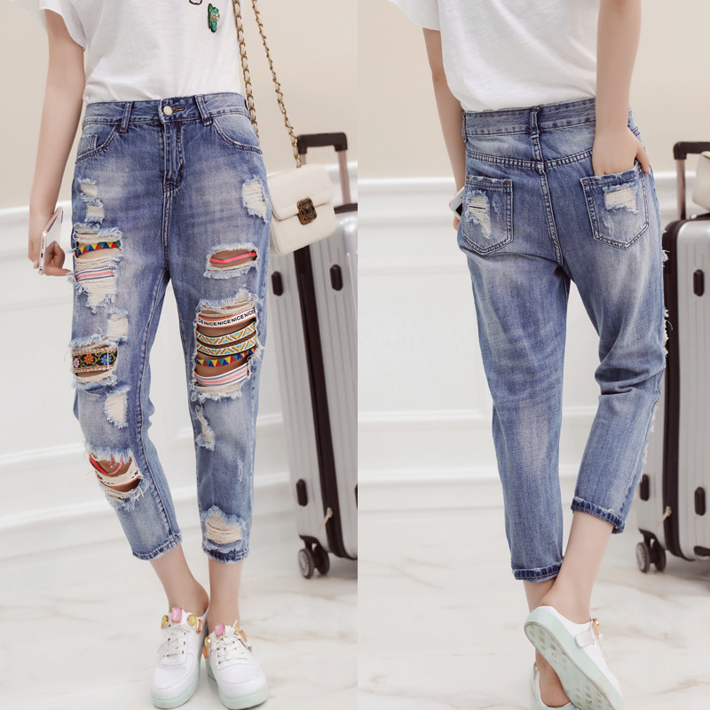 QA1052 Women high waist jeans mujer casual ripped jeans vintage patchwork denim calf-length pants