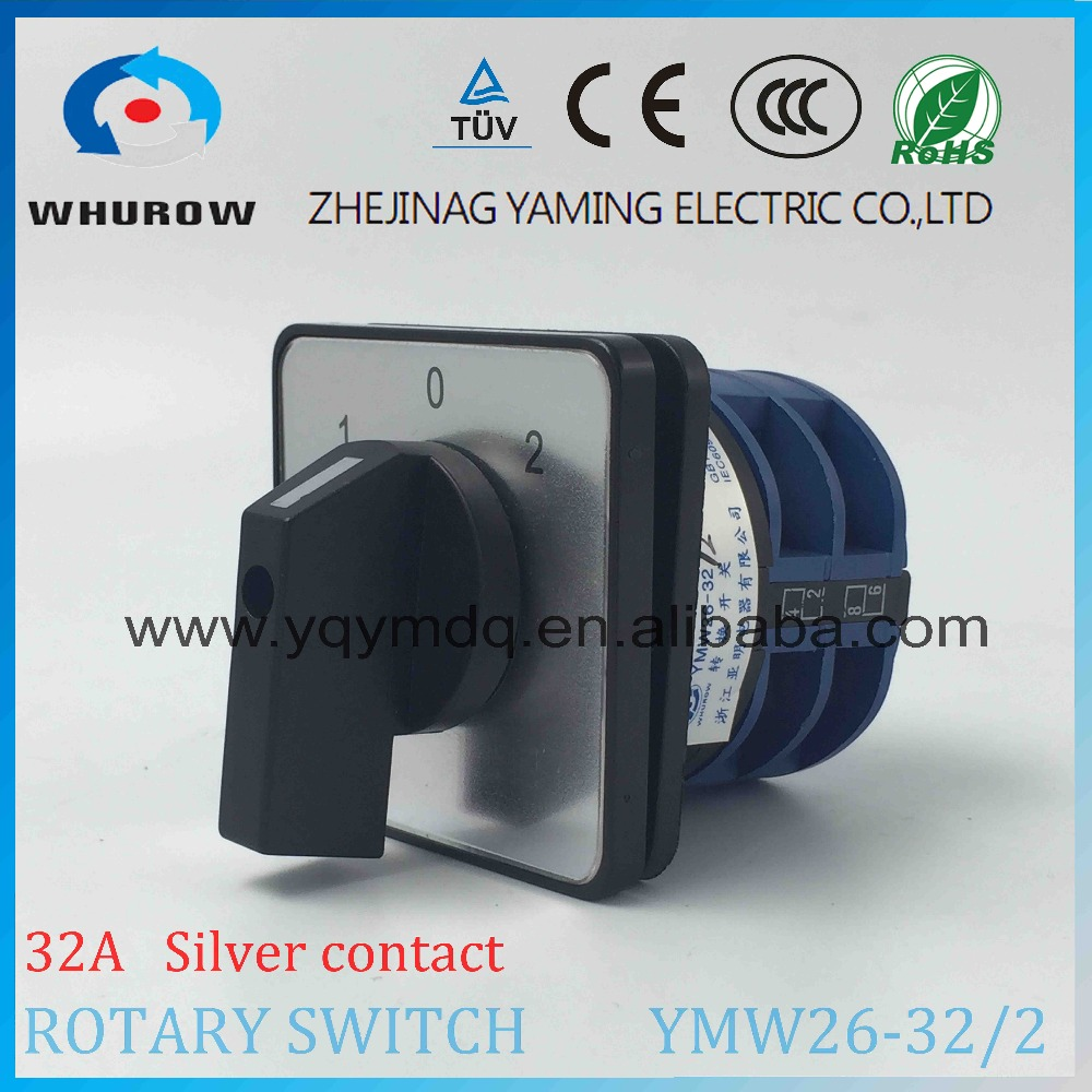 LW26 YMW26-32/2 Rotary switch 3 postion 1-0-2  690V 32A 2 pole selector universal changeover cam switch silver contact 660v ui 10a ith 8 terminals rotary cam universal changeover combination switch