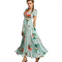 Vestidos de Verão das mulheres Vestido Maxi Vestido de Verão As Mulheres Se Vestem Senhoras Botão Up Divisão Floral Imprimir Flowy vestidos de Festa Vestidos de Noite