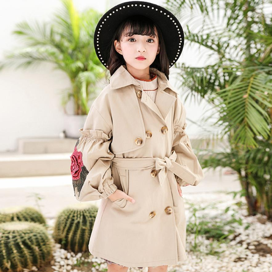 Baby Girl Windbreaker Jacket 2019 Spring New fashion Children   trench   Coat Embroidery Roses Belt Jacket Teens Kids Outerwear Y756