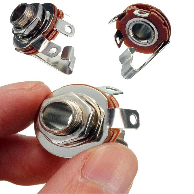 Mono 6.35mm Female Audio Plastic Metal MIC Microphone Jack Panel Mount Socket Plug Adapter Connector
