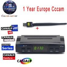 Cccam cline Para 1 Año Freesat V7 HD DVB-S2 Receptor de Satélite soporte Biss Clave PowerVu Ccam + 1 UNID Usb Wifi Cccam Europa servidor