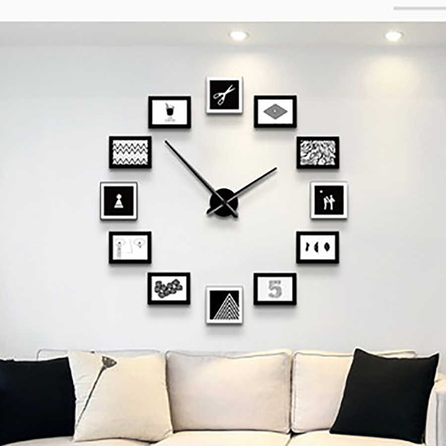 Simple Creative Photo Wall Clock Solid Wood Living Room Mute Clock Modern  Decoration Simple Bedroom Wall Watch Home Decor 4Q4