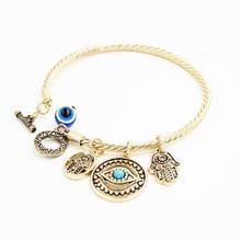Sell like hot cakes exaggerated bracelet Fatima small pendant with blue eyes Eye bracelets bracelets недорого