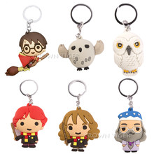 Harri Potter 3D anime PVC Brinquedo Keychain Dobby Malfoy Hermione Granger Ron Weasley Snap Action Figure Brinquedos Festa Cosplay Chave anel(China)