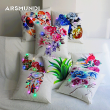 Vintage Flower led Cushion Cover Decorative Home Living Room Bed Chair Seat Waist Throw Case Rose Leaves Pillowcases