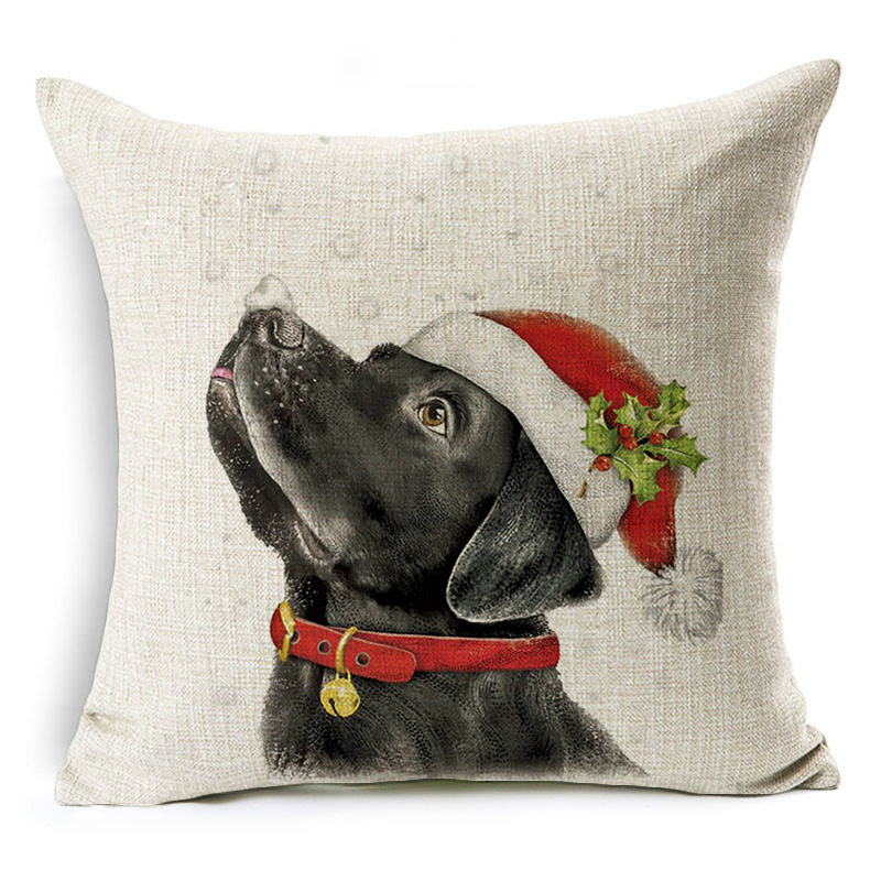 Homing Merry Christmas Dog Cotton Linen Printed Decorative