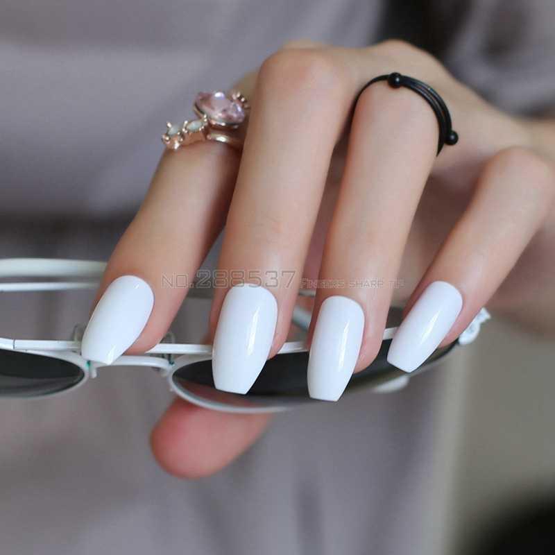 สีขาวเต็มเล็บเคล็ดลับ Simple Office สบายประดิษฐ์ Ballerina เล็บปลอม 24pcs Coffin Designs Pure สีเล็บปลอม B10