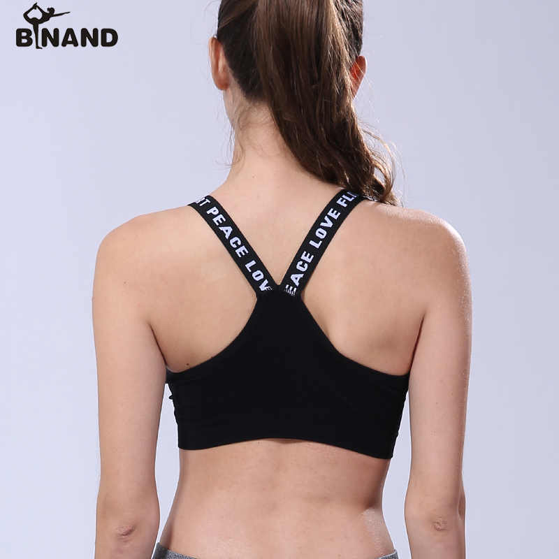 c08c3142a6 ... BINAND Alphabet Straps Seamless Sexy Shockproof Sports Bra Breathable  Outdoor Athletic Gym Running Exercises Fitness Yoga ...