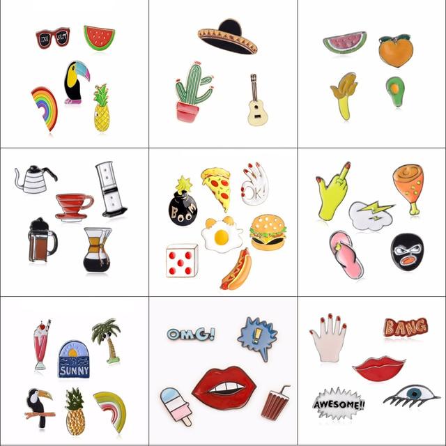 Fashion Cartoon Enamel Brooch Set Button Pins 3 7 Pcs/set Animal Coffee  Fruit