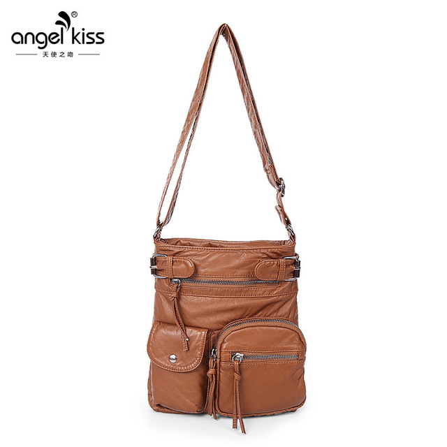76b9a685e0 Angelkiss Women Shoulder bags female classic Multiple zip pocket Shoulder  bags ladies handbags PU messenger bag
