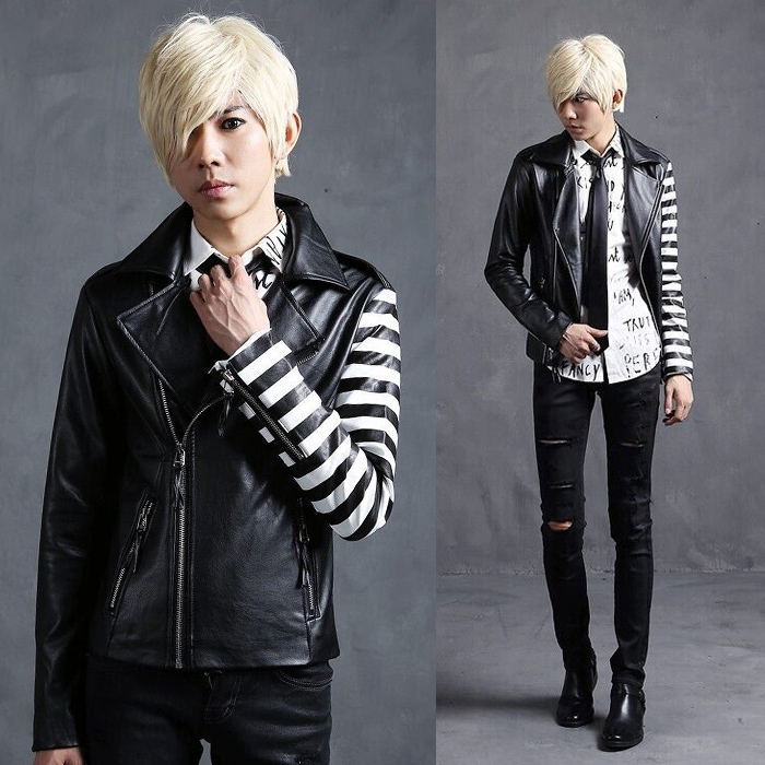 Buy Different Sleeve Cool Punk Rock Leather Jackets For Men Slanted Zipper
