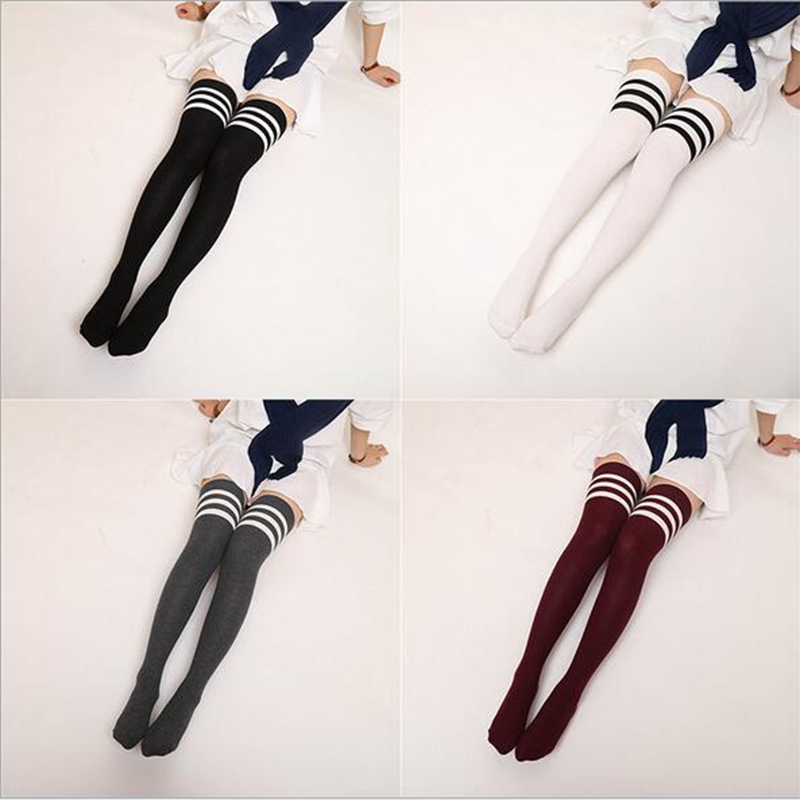 Japanese JK Socks Stockings Knee Socks JK Uniform Striped Stockings Cotton Thickening Stocks Cosplay Costumes 6 Colors