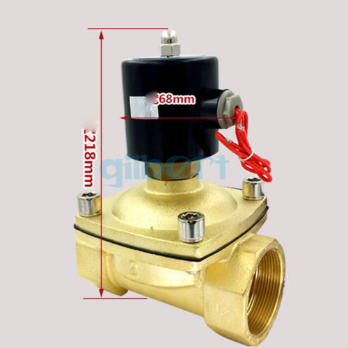 DC12/24V AC110/220V 2″ BSPP 22W Normally Open Flow Pore 50mm Brass Gas Oil Water Solenoid Valve