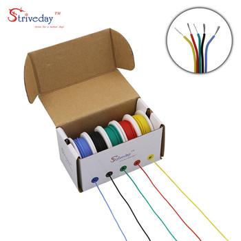 30AWG 50 m box drut kablowy elastyczny silikon 5 mieszanka kolorów box 1 box 2 pakiet cynowany drut miedziany przewody elektryczne DIY tanie i dobre opinie striveday 30 AWG RUBBER Internal wiring in electric equipment etc Izolowane Stranded Does Not Apply Multiple Conductor Cable