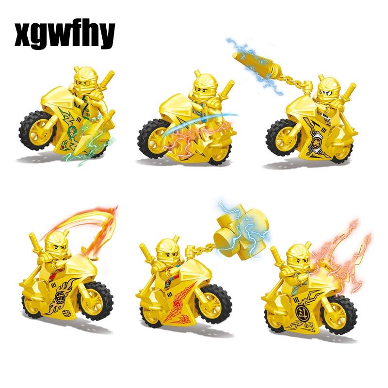 Hot Ninja Gold Motorcycle Building Blocks Bricks Toys Compatible LegoINGly Ninjagoed Ninja For Kids Gifts Carmadon Kai Jay Zane(China)