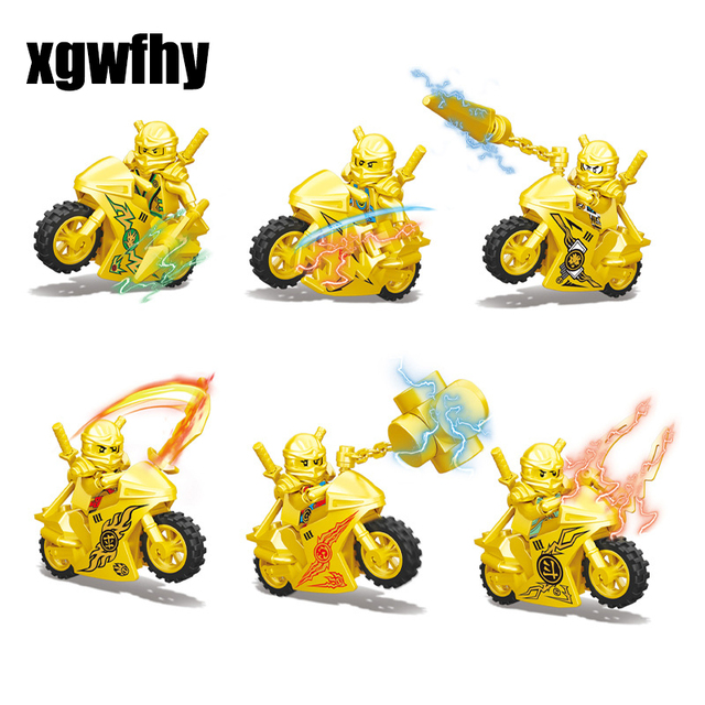 Hot Ninja Gold Motorcycle Building Blocks Bricks toys Compatible legoINGly Ninjagoed Ninja for kids gifts Carmadon Kai Jay Zane