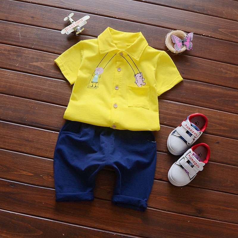 2017 Summer Baby's Sets Boys Cartoon Short Sleeve Shirt Tops + Casual Pants Kids Two Pieces Suits Infant Clothes roupas de bebe